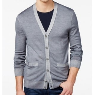 Michael Kors NEW Gray Mens Large L Cardigan Wool Button Down Sweater