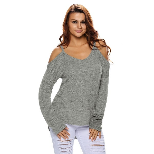 Cali Chic Juniors' Sweaters Celebrity Grey Cold Shoulder Knit Long Sleeves