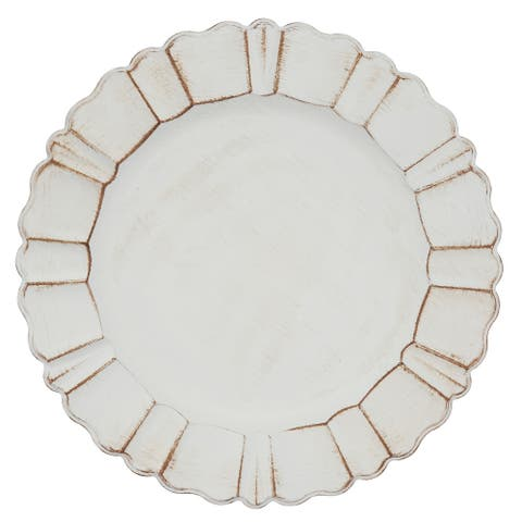 Scalloped Ruffled Design Charger Plates (Set of 4)
