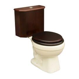 Round Toilet with Dark Oak Wood Tank and Bone Bowl