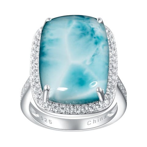 12.45cttw Cushion-Cut Larimar Cabochon Cocktail Ring, Sterling Silver