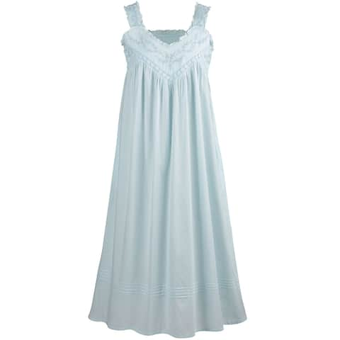 7ba4fb16f2eb La Cera Cotton Chemise - Lace V-Neck Nightgown with Pockets Nightgown