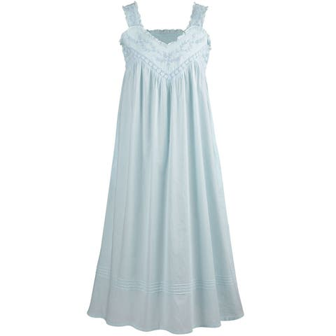cb451578b9b0 La Cera Cotton Chemise - Lace V-Neck Nightgown with Pockets Nightgown