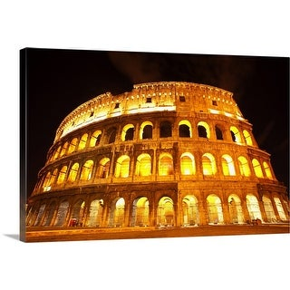 """A lit Colosseum in Rome, Italy"" Canvas Wall Art"