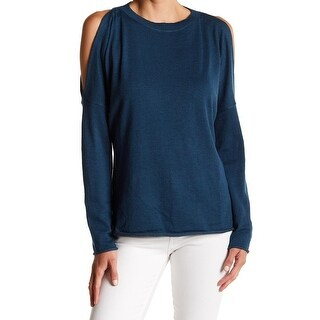John + Jenn NEW Blue Women Size Medium M Pullover Cold-Shoulder Sweater