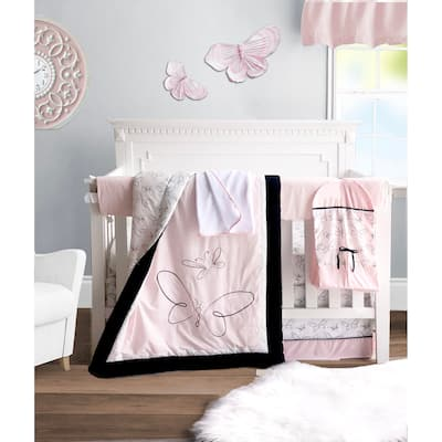 Pam Grace Creations Pink Butterfly 6 Piece Crib Bedding Set