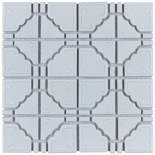 Link to SomerTile 11.75x11.75-inch Luna Glossy White Porcelain Mosaic Floor and Wall Tile (10 tiles/9.79 sqft.) Similar Items in Tile