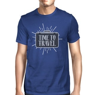 Time To Travel Mens Blue Crewneck Cotton Tee Shirt Gift For Summer