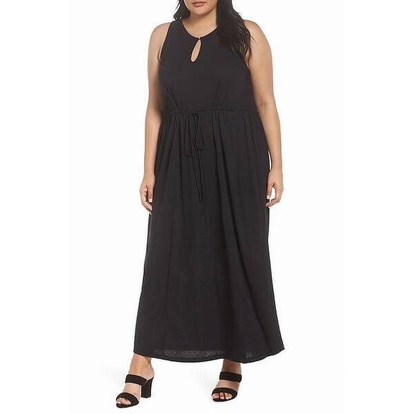 Sejour NORDSTROM Women\'s Dress Black Size 2X Plus Maxi Tie-Wiast