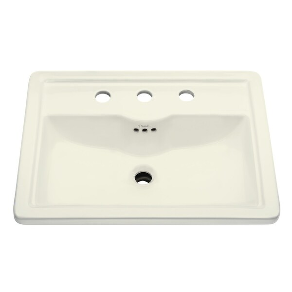 "Mirabelle MIRKW458A Key West 22-5/8"" Drop In Bathroom Sink with 3 Holes Drilled and Overflow"