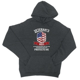 Veteran's Wife Unisex Charcoal Grey Pullover Hooded Sweatshirt (More options available)