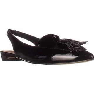 Tahari Paulina Slingback Tassel Pointed Toe Loafers, Black