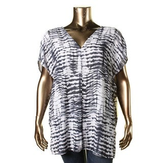 Karen Kane Womens Plus Double V Tie Dye Tunic Top - 1X