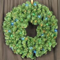 Christmas at Winterland WL-GWSQ-03-L5M 3 Foot Pre-Lit Multicolor LED Sequoia Wreath - N/A