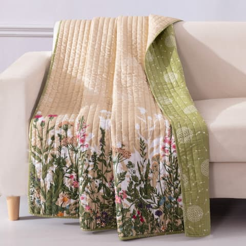 Barefoot Bungalow Dandelion Reversible Quilted Throw Blanket
