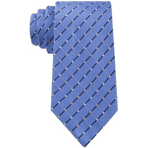 Geoffrey Beene Mens City Grid Self-tied Necktie, blue, One Size - One Size