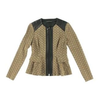 Nanette Lepore Womens Leather Trim Peplum Collarless Blazer - 2