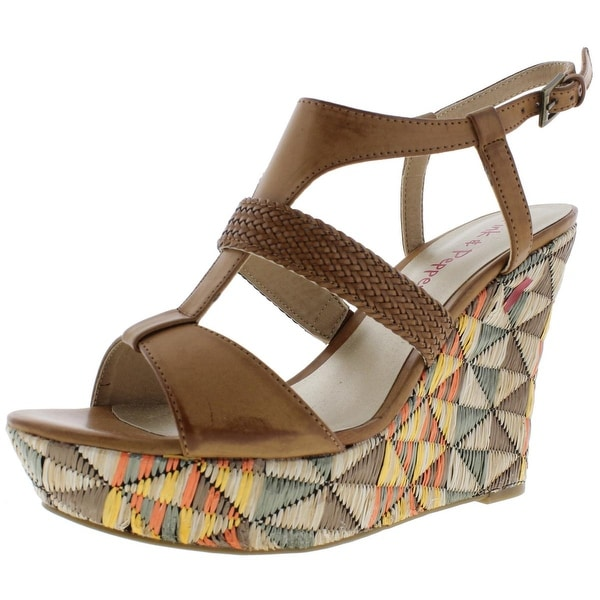 Pink & Pepper Womens Desired Wedge Sandals Woven Colorblock