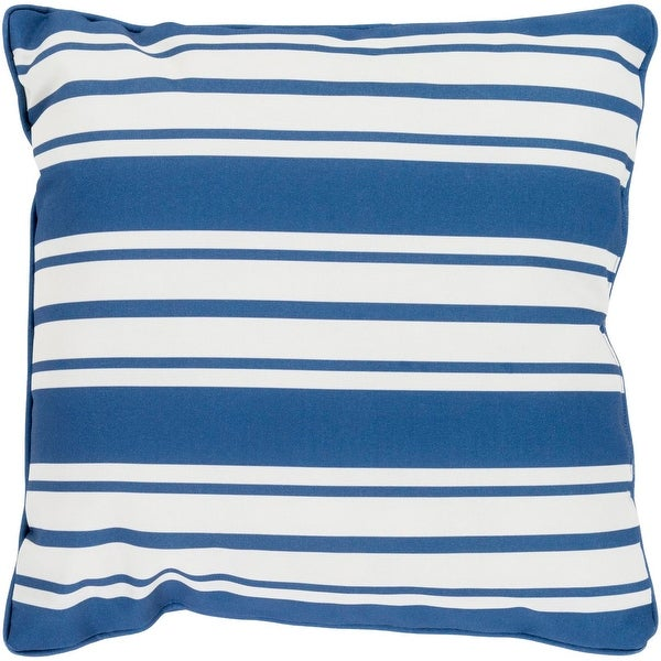 "20"" Striped In Color Cobalt Blue and Ivory White Decorative Throw Pillow"