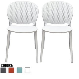2xhome - Set of 2 Modern Plastic Armless Stackable Stacking Dining Side Chairs Matte Indoor Outdoor Restaurant Home (4 options available)