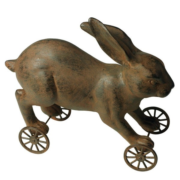 Victorian Trading Co. Primitive Rabbit Pull Toy - Collectible Vintage Toy Reproduction - brown