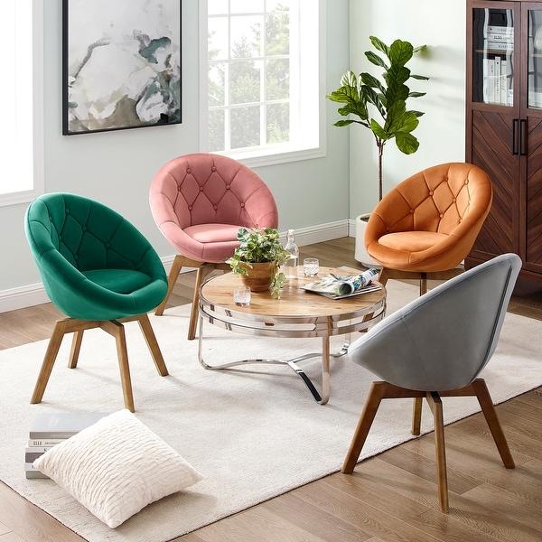 Carson Carrington Kallax Velvet or PU Tufted Round Swivel Accent Chair