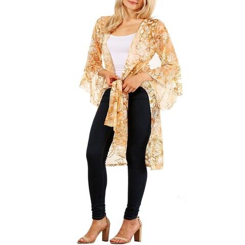 Funfash Women Plus Size Sheer Gold Long Cardigan Sweater Made in USA