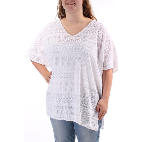 ALFANI Womens White Textured Geometric Dolman Sleeve V Neck Top Size: L