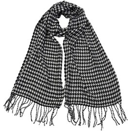 Winter Fall Cold Weather Cashmere Feel Houndstooth Scarf, Black White