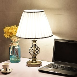 Costway 13'' Antique Brass Bedside Table Lamp w/ LED Bulb Office Light White