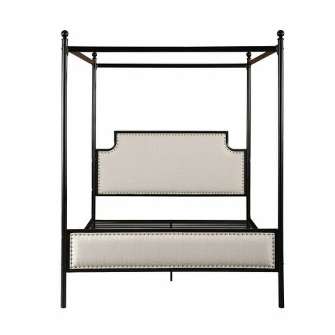 """83"""" Beige and Black Traditional Queen Size Canopy Bed Frame"""