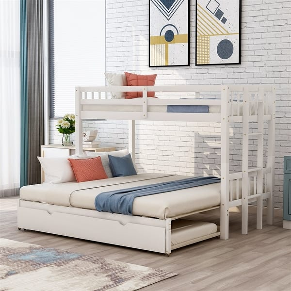 Merax Twin Over Twin Full Bunk Bed Pull Out Bunk Bed With Trundle On Sale Overstock 31707204