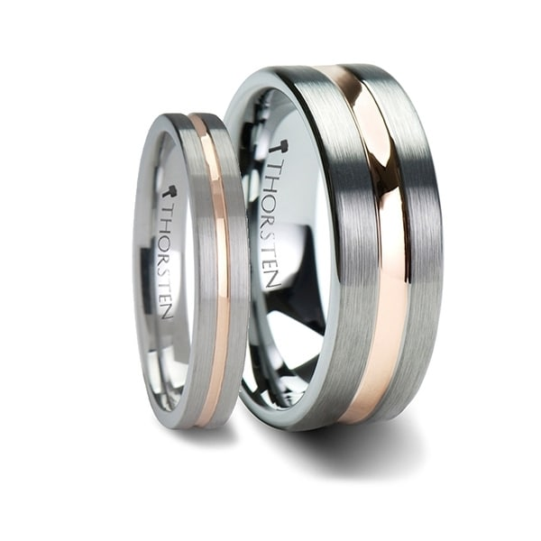 ZEUS Flat Brushed Finish Tungsten Carbide Ring with Rose Gold Plated Groove - 4mm – 10mm