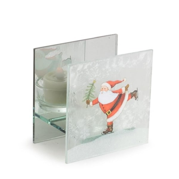 Pack of 9 Decorative Glass Skating Santa Tealight Holder - WHITE
