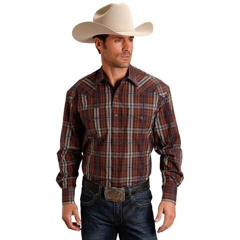 Stetson Western Shirt Mens L/S Plaid Snap Brown