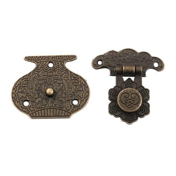 Metal Retro Style Decorative Gift Jewelry Wooden Box Hasp Latch Lock Buckle Set