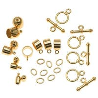 BeadSmith Gold Plated Bullet Findings For Kumihimo Braids - 4 Assorted Sizes