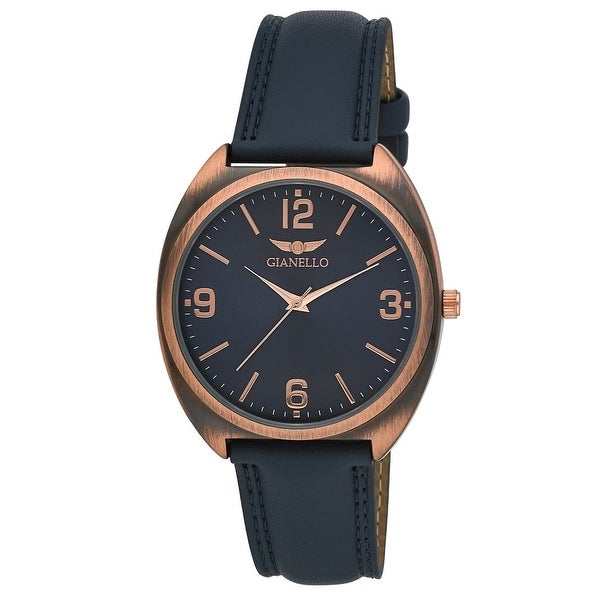 Gianello Mens Sochi Easy Read Dial Vegan Leather Strap Watch. Opens flyout.