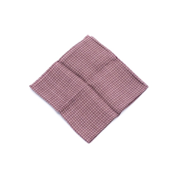 Brunello Cucinelli Men's Wool Burgundy Grey Checkered Pocket Square