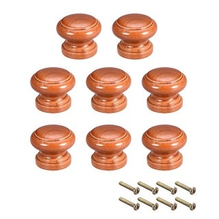 Cabinet Round Pull Knobs 28mm Dia Bedroom Kitchen Red Elm Wood 8pcs - 28mmx23mm(D*H)-8pcs