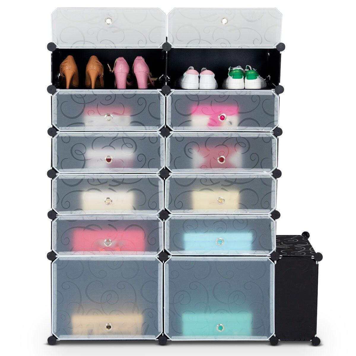 Costway Diy 13 Cube Portable Shoe Rack Storage Cabinet Organizer 24 Pair Space Saving