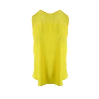 Vince Camuto Womens Chiffon Contrast Trim Pullover Top