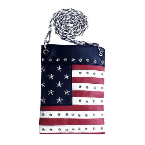 Red White and Blue American Flag Crystal Studded Mini Crossbody Purse
