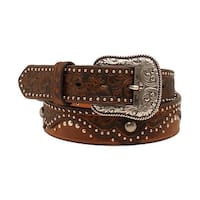 Ariat Western Belt Womens Embossed Nail heads Floral Brown