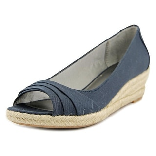 Life Stride Occupy Open Toe Canvas Wedge Heel