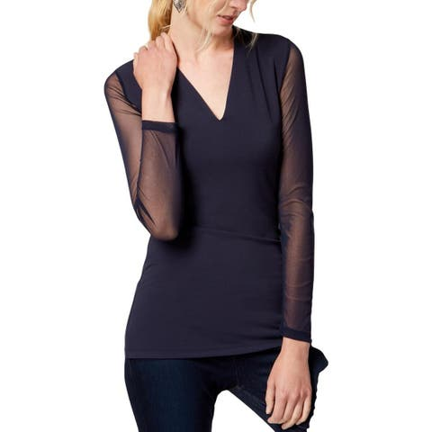 I.N.C. Women's Illusion-Sleeve V-Neck Blouse, Blue (XXL)