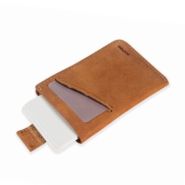 Ikepod Micro Carry Card Sleeve Wallet Ultra Slim Design(Light Cocoa of 2 Color) [Italy Made//Top Leather] - Tan/Brown