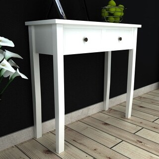 vidaXL White Dressing Console Table with Two Drawers