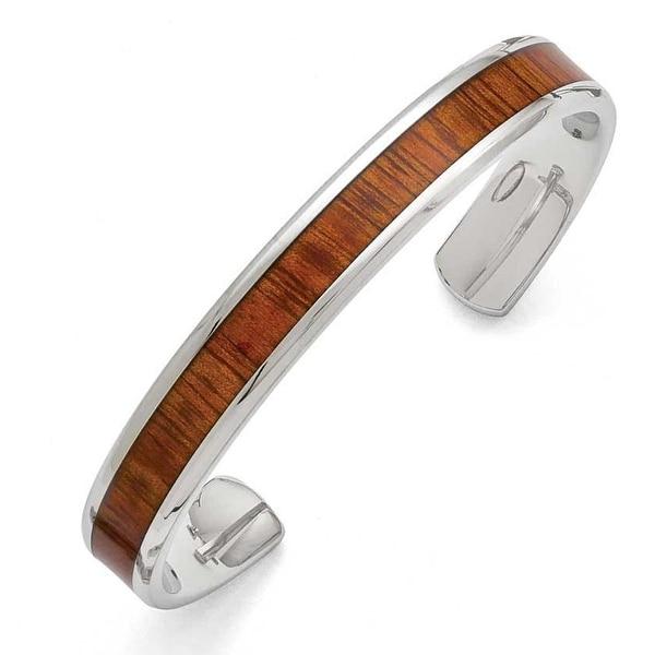Chisel Stainless Steel Polished Red/Orange Wood Inlay Enameled Bangle