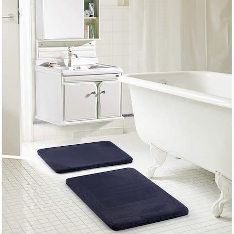 Dearfoams 2 Piece Faux Fur Memory Foam Bath Rug Set